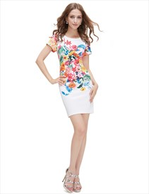 White Floral Print Bodycon Short Summer Dress With Short Sleeve