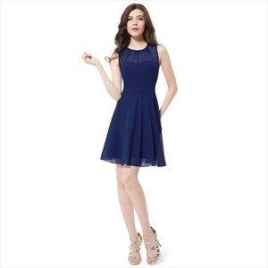 Elegant Navy Blue Sleeveless Short Chiffon Bridesmaid Dress