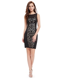 Sophisticated Black Sleeveless Hollow Out Bodycon Cocktail Dresses
