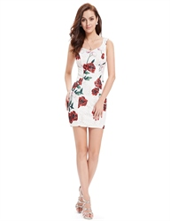 Cute White Short Mini Sheath Summer Dresses With Red Floral Print