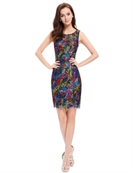 Multi Color Lace Short Sheath Cocktail Semi Foraml Dress