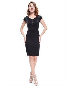 Black Cap Sleeves Bodycon Mini Summer Dress With Leather Trim