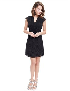 Black V Neck Polka Dot Summer Shirt Dress For Ladies