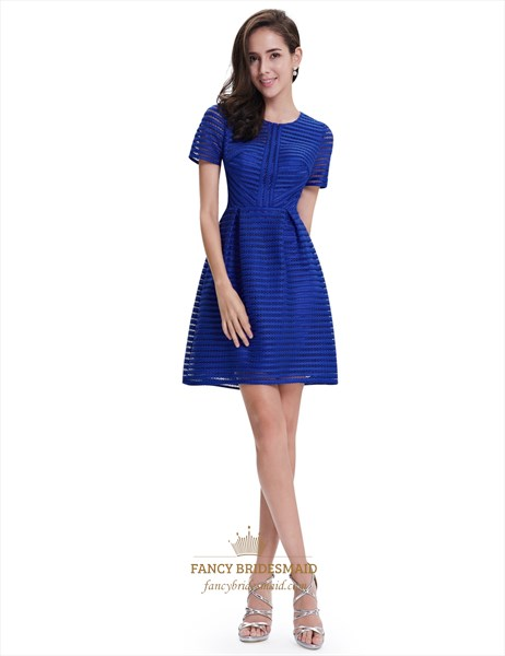 Ladies Royal Blue Summer Swing Fit And Flare Dresses With Sleeves