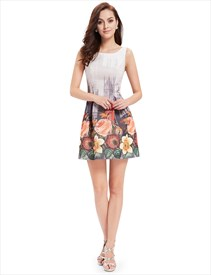 Vintage Style Floral Print Fit And Flare Summer Sleeveless Dress