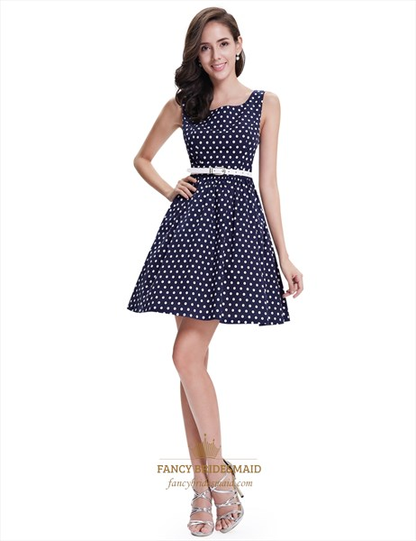 Navy Polka Dot Fit And Flare Shift Summer Dress With White Belt