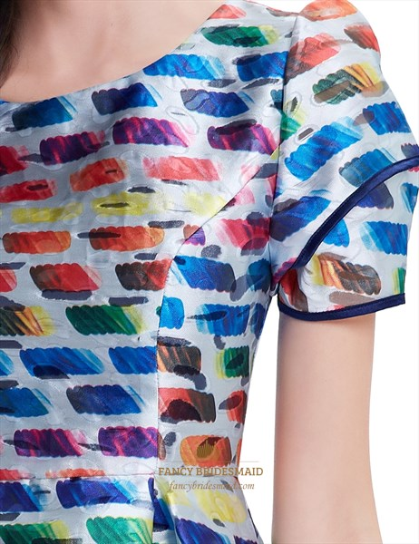 Multicolored Summer Fit And Flare Skater Dresses With Short Sleeves