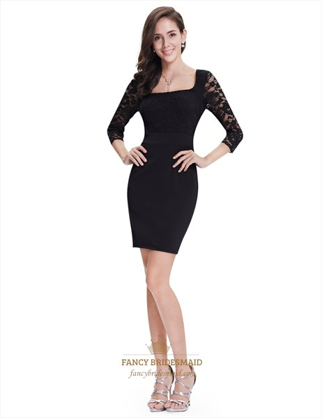 Black Lace Sheath Short Cocktail Dress With 3/4 Sleeves