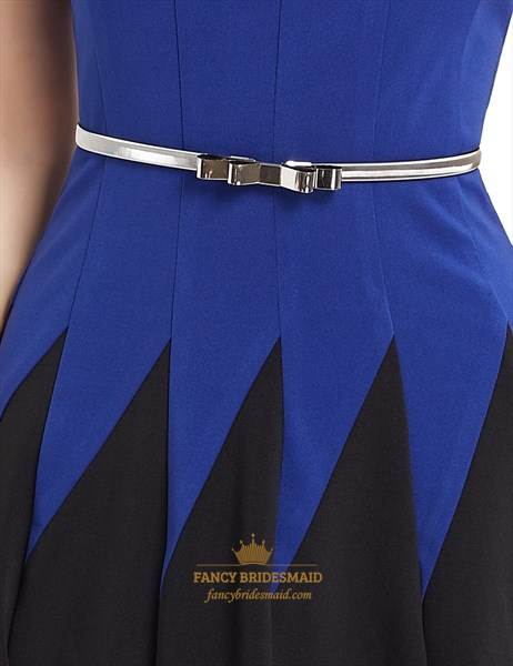 Royal Blue And Black Sleeveless Fit And Flare Skater Dress