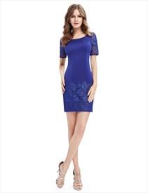 Casual Summer Royal Blue Sheath Dress With Short Sleeves