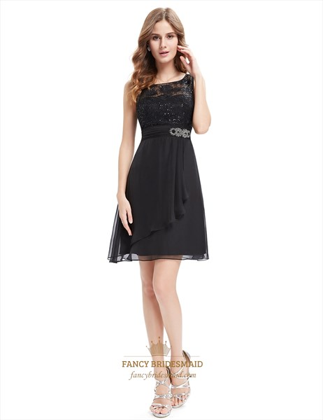 Black Lace Bodice Chiffon Cocktail Dresses With Beaded Waist