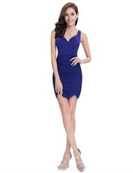 Elegant Royal Blue Short Sheath Lace Cocktail Dress With Straps