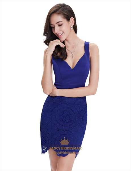 Elegant Royal Blue Short Sheath Lace Cocktail Dress With Straps