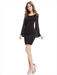 Black Short Sheath Cocktail Dresses With Bell Sleeve