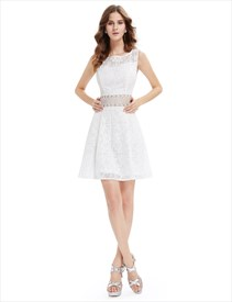Cute Short White Lace Fit And Flare Dresses With Sheer Cut-Out Waist
