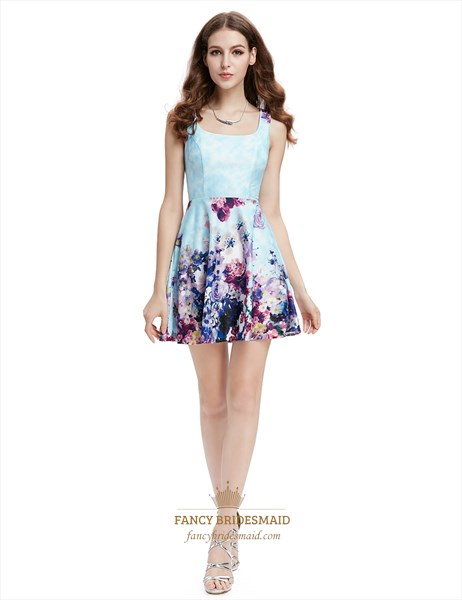 Light Blue Summer Floral Print Skater Dress For Ladies