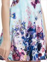 Light Blue Summer Floral Print Skater Dress For Ladies