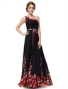 Black Floral Print One Shoulder Chiffon Prom Dress With 3d Floral Detail