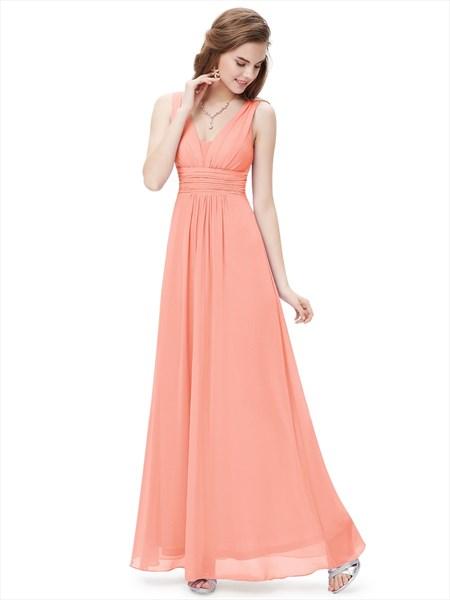 Peach V Neck Chiffon Long Bridesmaid Dresses For Beach Wedding