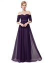 Purple Off The Shoulder Half Sleeves A-Line Chiffon Formal Dress