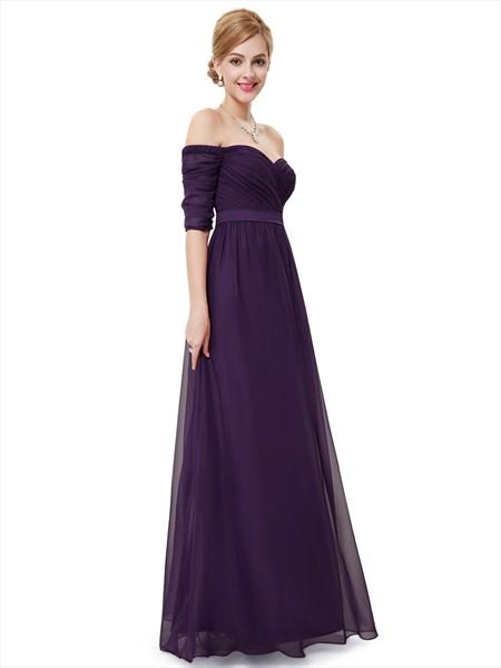 Purple Off The Shoulder Half Sleeves A-Line Chiffon Formal Dress