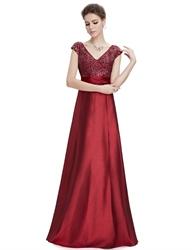 Burgundy V-Neck Cap Sleeves Floor Length Prom Dresses With Sequin Bodice