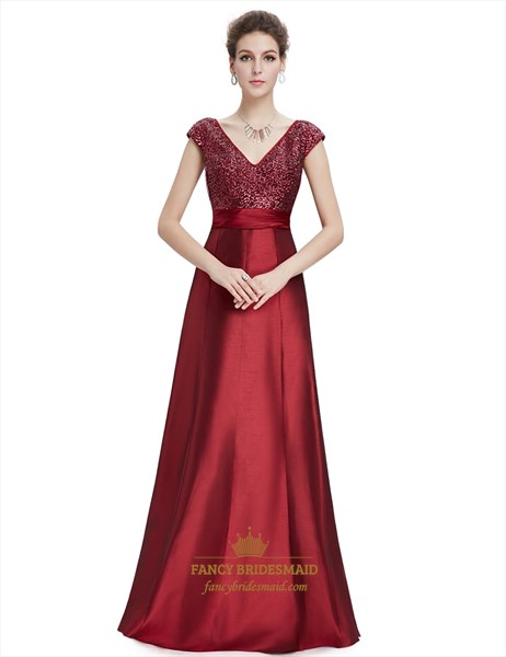 Burgundy V-Neck Cap Sleeves Floor Length Prom Dresses With Sequin Bodice
