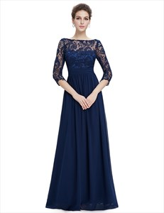 Navy Blue 3/4 Sleeves Chiffon Mother Of The Bride Dress With Lace Bodice