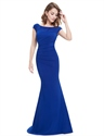 Elegant Royal Blue Cap Sleeves Mermaid Prom Dress With Open Back