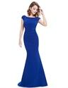 Elegant Royal Blue Cap Sleeves Mermaid Prom Dress With Open Back