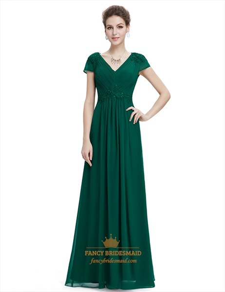 Emerald Green V Neck Chiffon Prom Dresses With Beaded Lace Applique