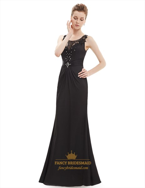 Black Lace Illusion Neckline Sheath Prom Dress With Beaded Detail