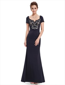 Black Beaded Mermaid Short Sleeves Prom Dress With Sequin Bodice