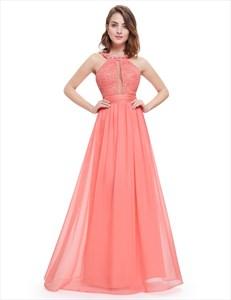 Coral Sleeveless Beaded Chiffon Prom Dress With Jewelled Neckline
