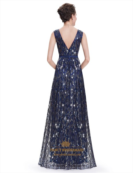 Elegant Navy Blue V-Neck Floor Length  Sequin Prom Dress