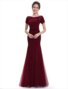 Burgundy Mermaid Tulle Skirt Short Sleeve Prom Dress With Lace Applique