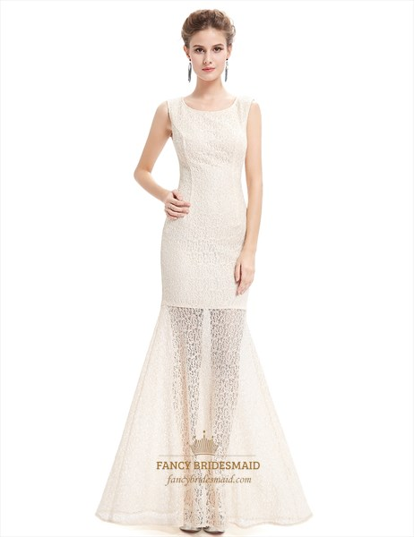 Elegant Champagne Sheath Lace Prom Dress With Sheer Illusion Skirt