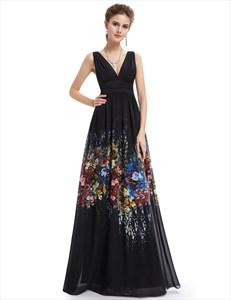 Elegant Black V Neck Embellished Floral Print Sleeveless Maxi Dress
