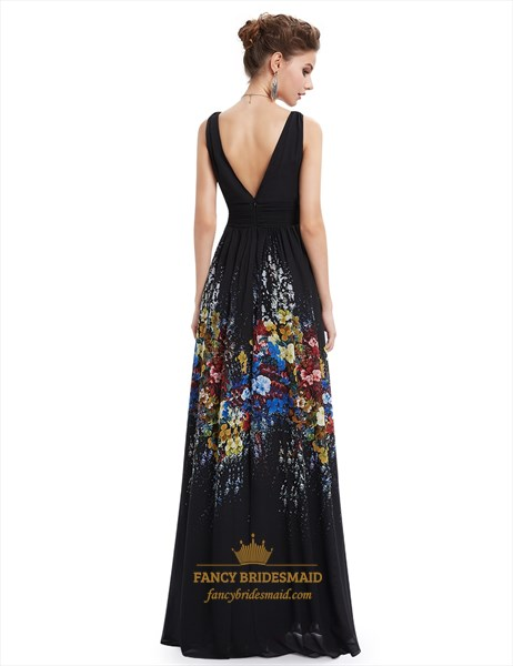 Elegant Black V Neck Embellished Floral Print Sleeveless Maxi Dress
