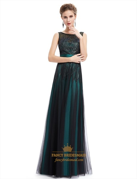 Vintage Emerald Green Tulle Prom Dress With Embellished Bodice