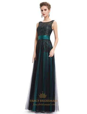 vintage emerald green tulle prom dress with embellished