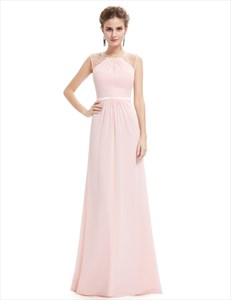 Pearl Pink Floor Length Chiffon Prom Dresses With Beaded Bodice