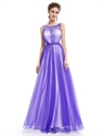 Purple Tulle Illusion Neckline Open Back Prom Dress With Jewel Detailing