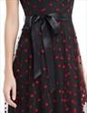 Black And Red Polka Dot Sheer Illusion Neckline Maxi Dress With Sash