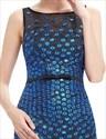 Unique Black And Blue Lace Sheer Illusion Neckline Mermaid Prom Dress