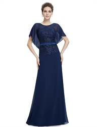 Navy Blue Chiffon Flutter Sheer Sleeve Prom Dresses With Lace Applique