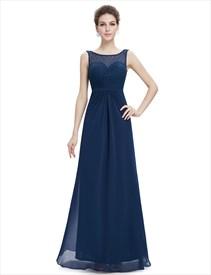 Elegant Navy Blue Long Chiffon Sheer Illusion Neckline Prom Dresses