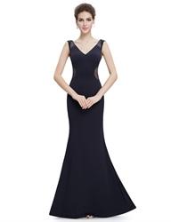 Black Sleeveless V Neck Long Open Back Mermaid Dresses