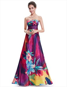 Multi Coloured Floor length Floral print Open Back Day Dresses