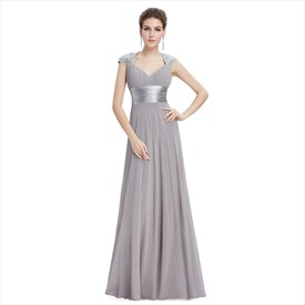 Grey V-Neck Long Prom Dresses With Cap Sleeves